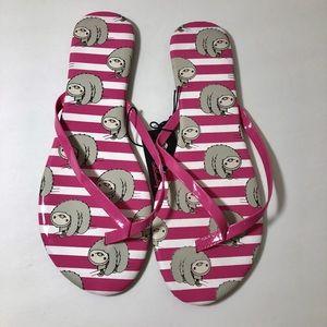 NWT Chatties Sloth Pink & White Stripe Sandals